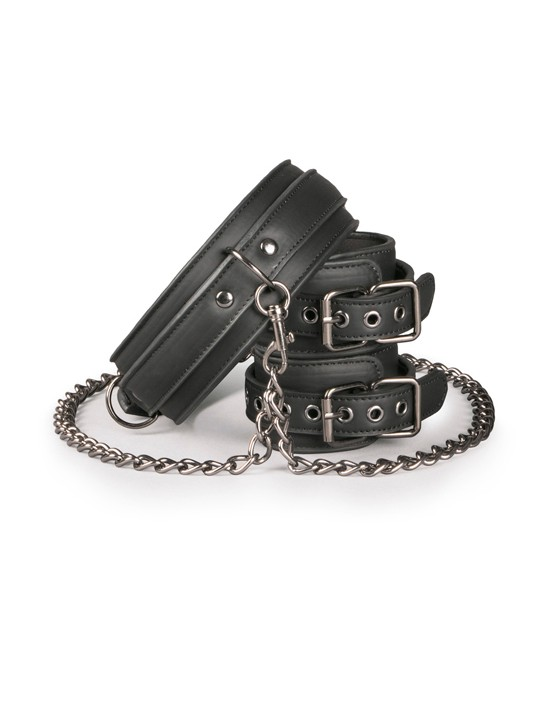 Leather Collar With Handcuffs