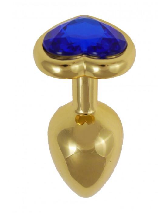 Gold Diamond Plug Heart Blue