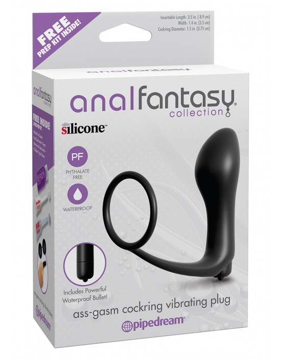 ASS GASM COCKRING PLUG BLACK