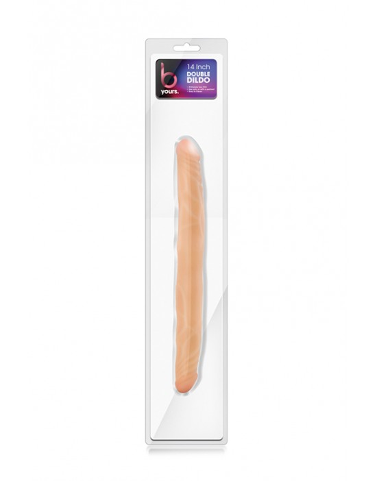 "B YOURS 14""DOUBLE DILDO BEIGE"